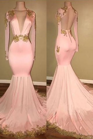 Mermaid V-neck Brush Train Long Sleeves Applique Prom Dresses, Backless Senior Dress N1474