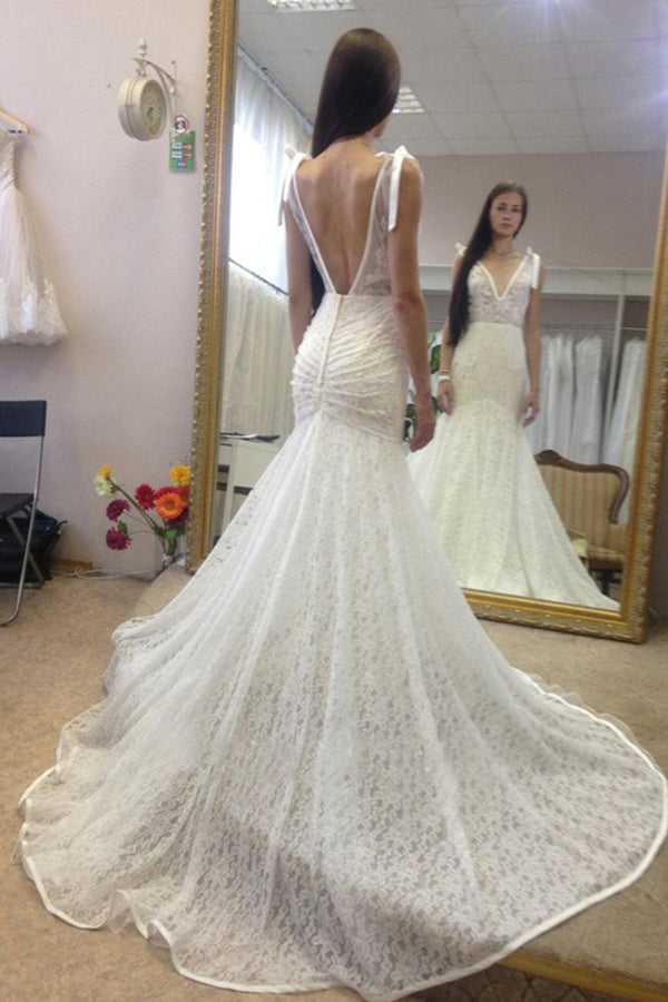 Deep V Neck Sleeveless Mermaid Lace Gown With Deep V Back, Long Lace Bridal Dress