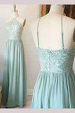 Mint Green Spaghetti Straps Chiffon Floor-length Lace Appliques Bridesmaid Dress,N508