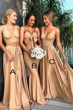 Mismatched Deep V-Neck Bridesmaid Dress, Long Cheap Bridesmaid Gown N1519