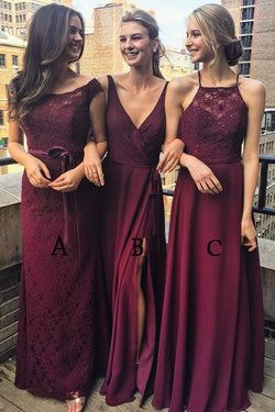 Multi Styles A-Line Floor-Length Burgundy Bridesmaid/Prom/Evening Dress with Lace,N583