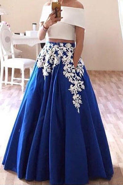 New Off the Shoulder Two Piece Prom Dress, Floor Length Blue Formal Dresses N1563