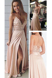 Spaghetti Straps V Neck Slit Prom Dress with Beading, Beaded Prom Gown, Party Dress N826