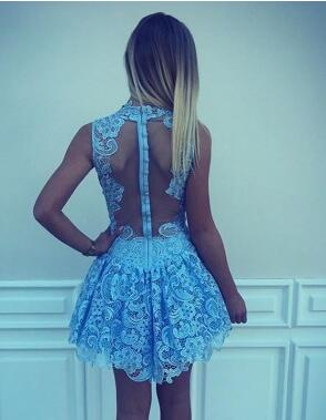 Chic A-line High Neck Light Blue Sleeveless Lace Short Homecoming Dress,Mini Party Dress,N371