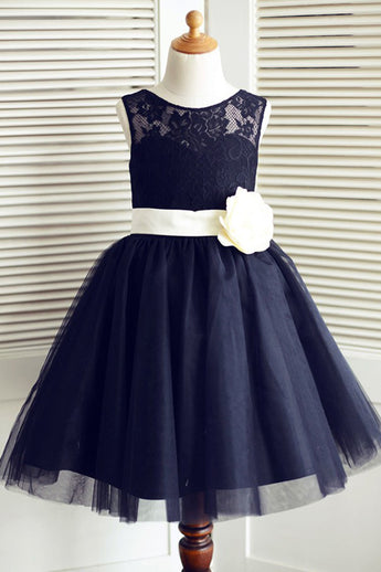 A-Line Round Neck Navy Blue Tulle Flower Girl Dress with Lace Flower F048