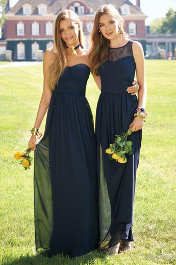 Navy Blue Sweetheart Long Chiffon Dress,Bateau Sleeveless Bridesmaid Dresses,N696