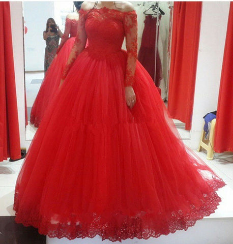 Red Off the Shoulder Long Sleeve Wedding Dresses
