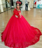 Red Long Sleeve Off-the-shoulder Lace Wedding Dress Ball Gown Quinceanera Dresses,N603