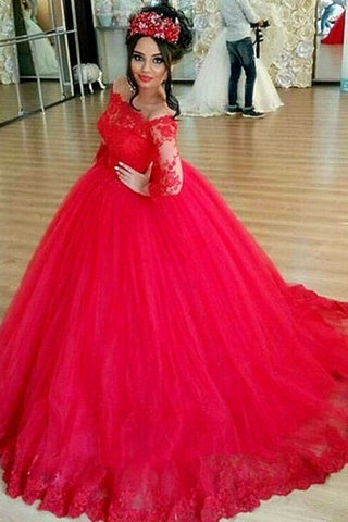 Red Long Off The Shoulder Lace Wedding Dress Ball Gown Prom Gown