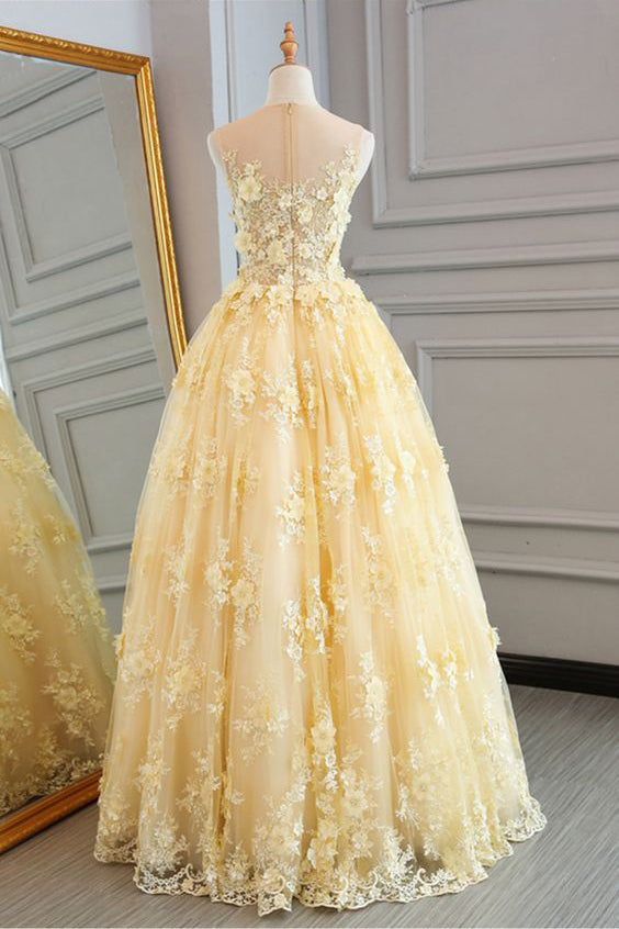 New Style Yellow Sheer Neck Tulle Lace Appliqued Floor-length Prom Dresses,N681
