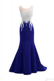 O-neck Beading Bodice Mermaid Long Prom Dresses Royal Blue Evening Dresses ED1475