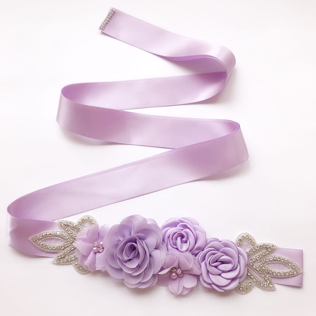 Rose Flower Rhinestone Pearls Wedding Sash B02