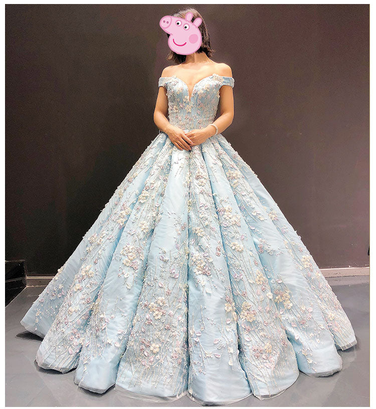Light Blue Off The Shoulder Ball Gown Quinceanera Dress