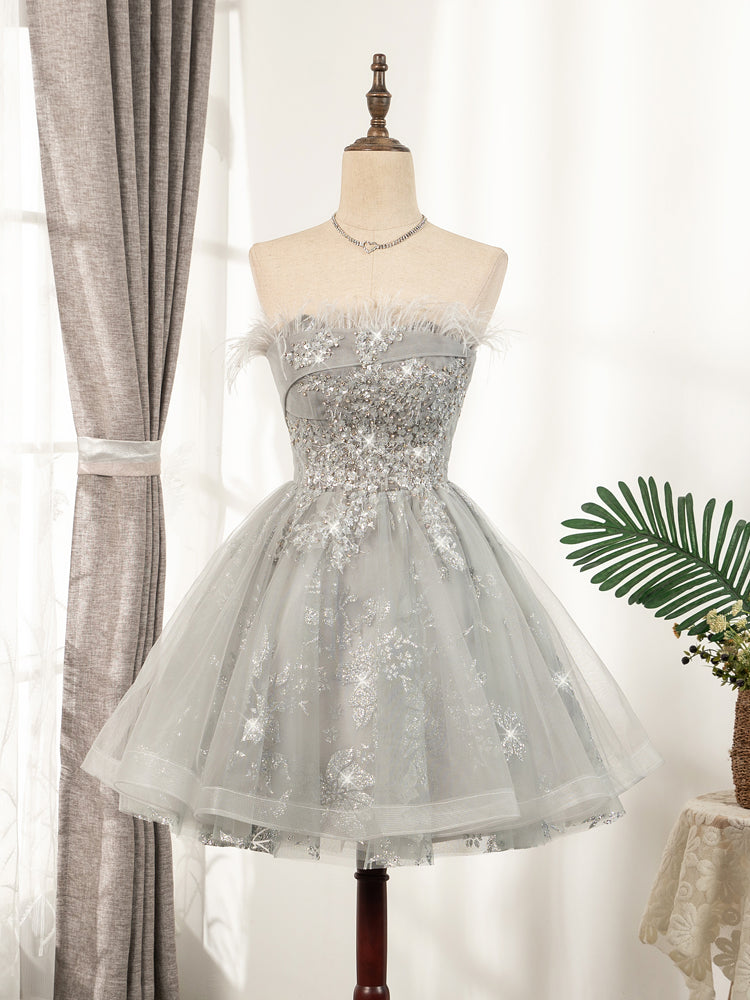 Cute Strapless Short Lace Up Beading Homecoming Dresses Sweet 16 Dress B0002