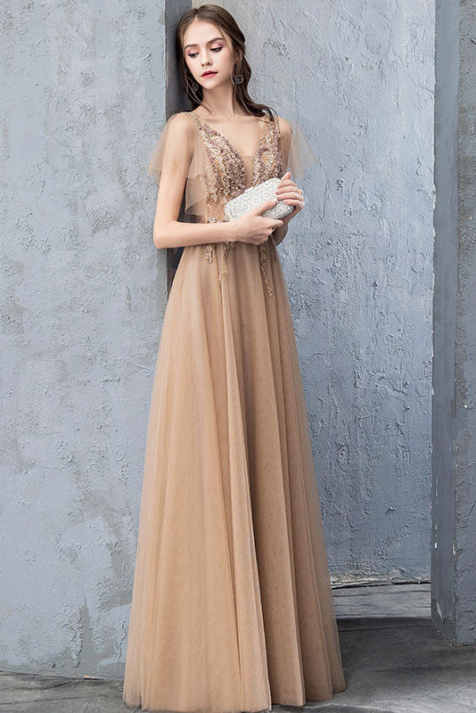 A Line V Neck Short Sleeves Long Tulle Prom Dress, Evening Dresses with Beadind N2656