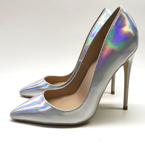 Silver laser high heels, Fashion Evening Party Shoes, yy39