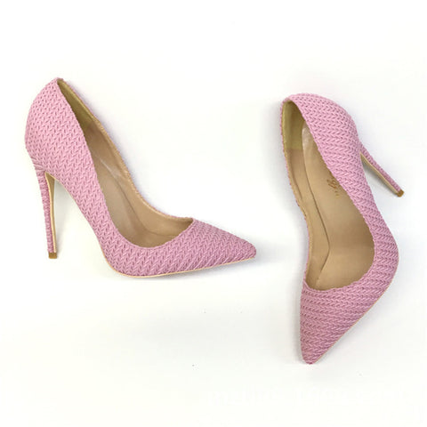 Pink knitted high heels, Fashion Evening Party Shoes, yy37