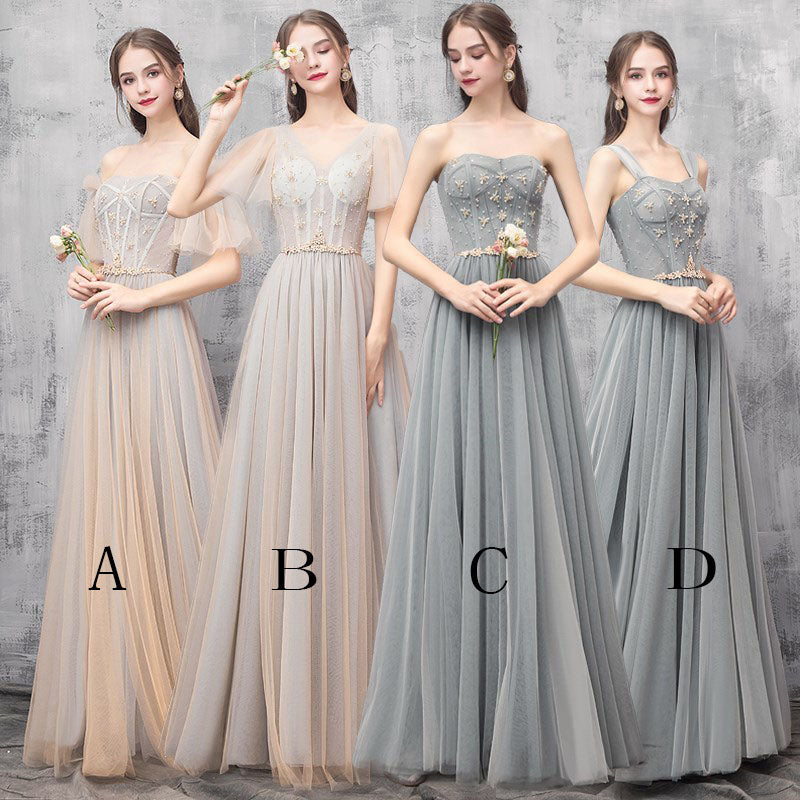 Elegant Off Shoulder Floor Length Tulle Prom Dress, Bridesmaid Dresses N2312