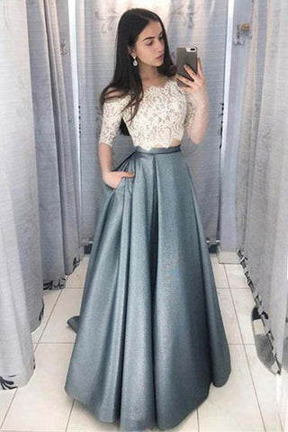 b2cb1a74b4bd Two Piece Off-the-Shoulder Half Sleeves Satin Prom Dress with Lace Top  N1444 – Simibridaldress
