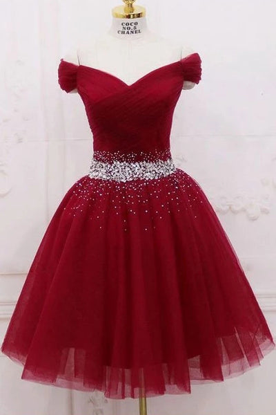 Burgundy Off the Shoulder Tulle Homecoming Dress, A Line Graduation Dress with Beads N1956