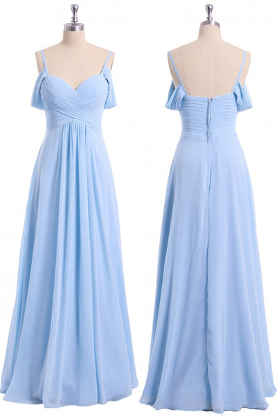 Light Sky Blue Off Shoulder Spaghetti Strap Chiffon Dresses, Floor Length Formal Dress N2057