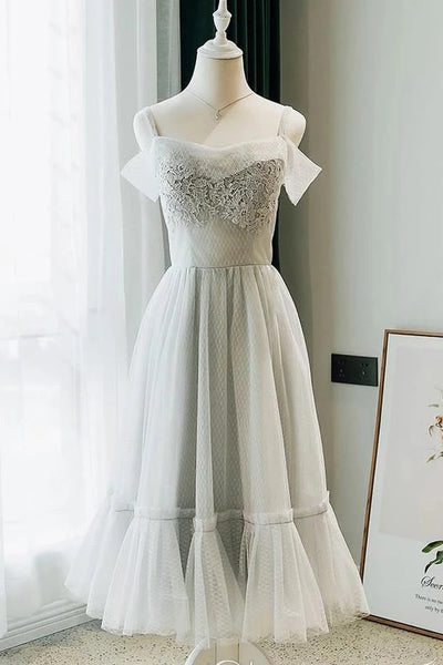 A Line Tea Length Off the Shoulder Homecoming Dresses with Lace Appliques N1957