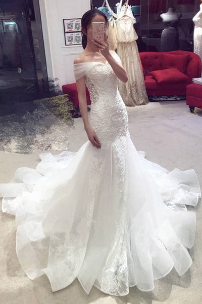 Sexy Mermaid Off-the-shoulder Chapel Train Lace Applique Bridal Dress,Wedding Gown,N547