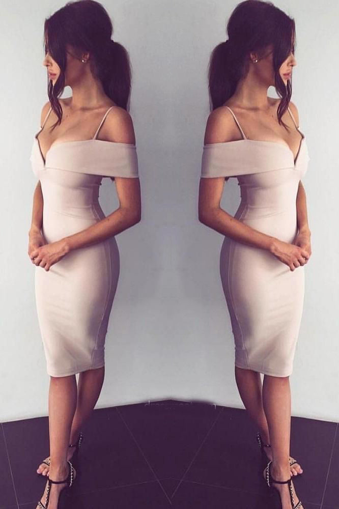 Sexy Bodycon Off the Shoulder Knee Length Prom Dresses, Charming Evening Party Dresses