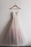Chic Ombre Pink Spaghetti Straps V Neck A-line Tulle Long Prom Dress, Gradient Dress N793