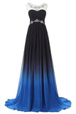 Ombre Bateau Sleeveless Sweep Train Ruched Chiffon Prom Dress with Beading,N671
