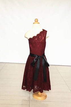 A Line One-shoulder Burgundy Lace Dress for Girls and Baby, Flower Girl Dress with Sash