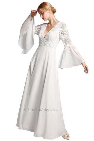 Charming V-neck Long Sleeves Lace Chiffon Beach Wedding Dresses Bridal Gowns Y0134