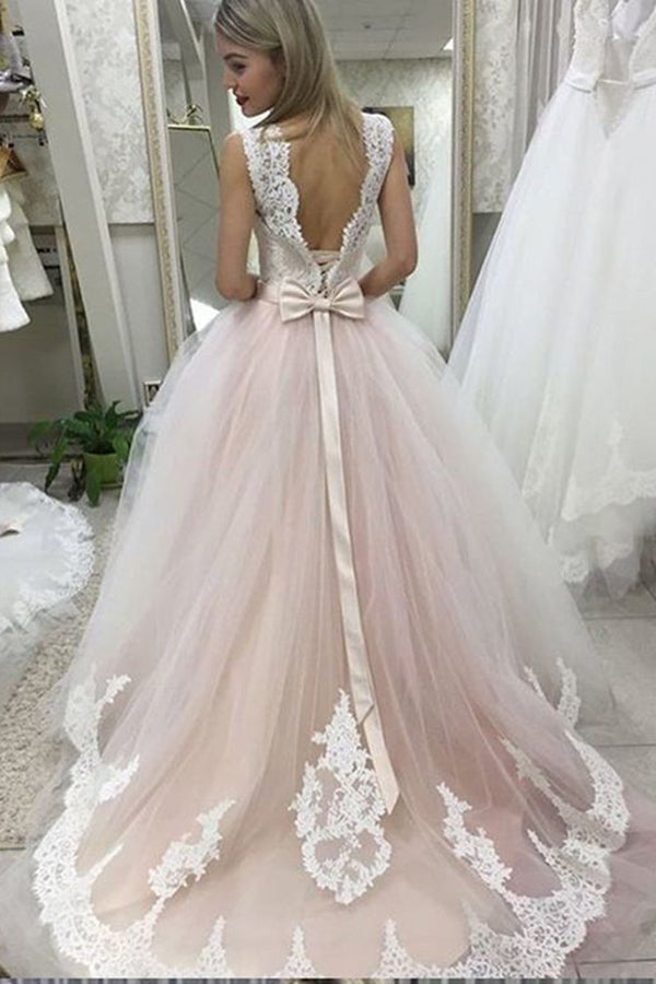 Pale Pink Court Train Wedding Dress with Lace Appliques, Sleeveless Bridal Dress