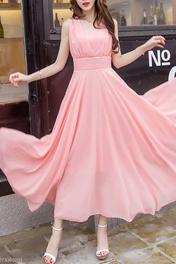 Peach Summer V-Neck Plain Chiffon Maxi Dress, Cheap Flowy Long Bridesmaid Dresses N1564