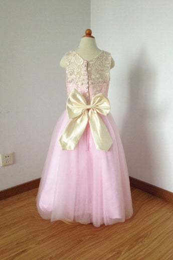 Cheap Lace Top Pink Tulle Long Flower Girl Dress with Bow, Cute Floor Length Flower Girl Dress