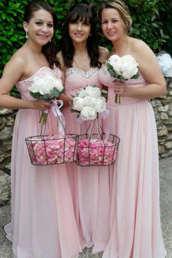 Pink Sweetheart Chiffon Bridesmaid Dress with Sparkles, Long Pleated Bridesmaid Dress N1476