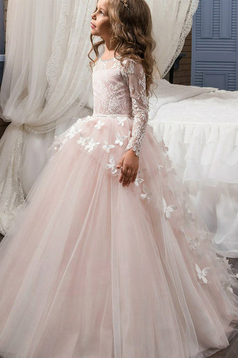 A-Line Scoop Neck Pink Floor Length Flower Girl Dress with Long Sleeve Butterfly F049