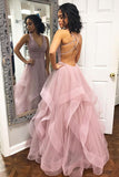 Sexy Deep V Neck Ruffled Long Prom Dress with Criss Cross Back, Long Party Dress N1490