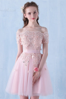 Pink Off the Shoulder Tulle Short Prom Dress with Beading, A Line Homecoming Dress N1946