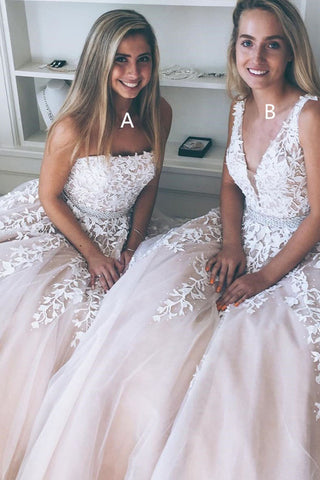 7477b68c24a Light Champagne A-line Tulle Long Prom Dress with Appliques Wedding Dress  Hot Sell Prom