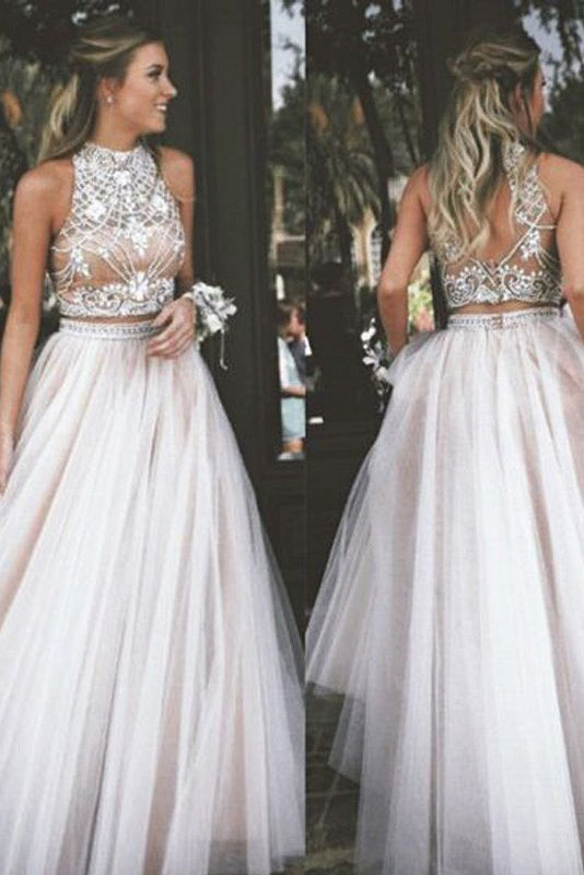 Two Piece A-Line Ivory Sleeveless High Neck Tulle Beading Long Prom Dresses,N740