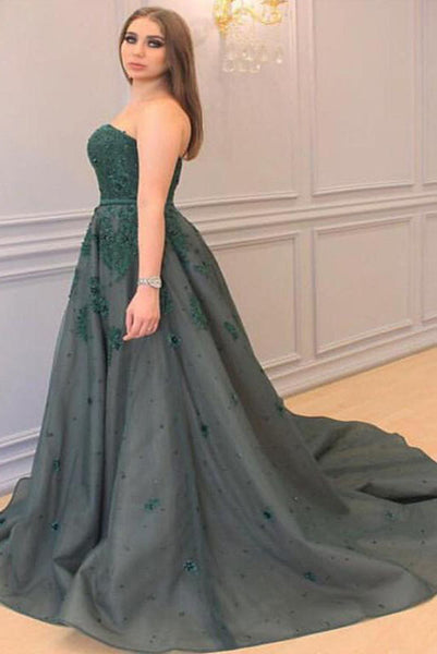 Princess Sweetheart Sleeveless Applique Court Train Tulle Plus Size Prom Dresses N2230