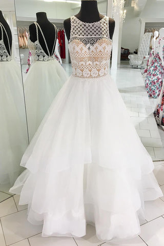 Princess White Sleeveless Scoop Tulle Long Prom Dress With Lace Formal Dress,N589