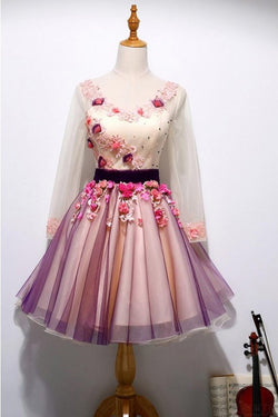 A Line Long Sleeves Tulle Short Homecoming Dresses with Appliques and Flowers