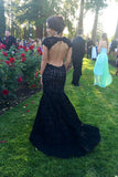 Black Lace Mermaid Prom Dresses,Open Back Cap Sleeve Long Prom Gown,N711