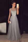 Cheap A-line Gray Sleeveless Tulle Beading Long Formal Dress,Prom Dresses,N516