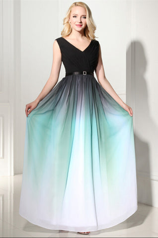 Newest Ombre V-Neck Long Prom Dress Evening Dress 04