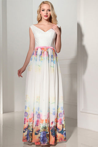 New Arrival Charming Long Printing V-Neck Prom Dress 05