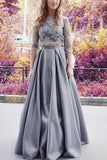 Modest Half Sleeves Prom Dress,Two Pieces Lace Crop Prom Dress,2 Pieces Sexy Prom Dress N70