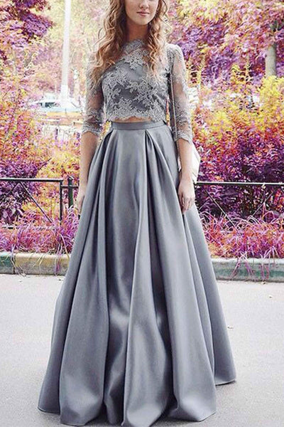 Modest Half Sleeves Prom Dress,Two Pieces Prom Dress,Lace Crop Prom Dress,A-line Satin Prom Dress,2 Pieces Sexy Prom Dress N70